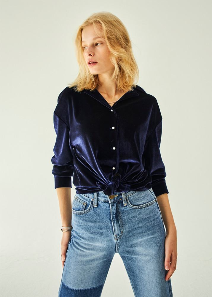 PEARL BUTTON VELVET BLOUSE_NAVY
